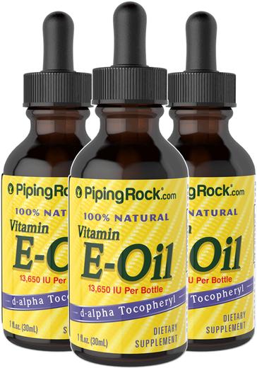 Óleo de vitamina E 100% natural -, 13,650 IU, 1 fl oz (30 mL) Frasco conta-gotas, 3  Frascos conta-gotas