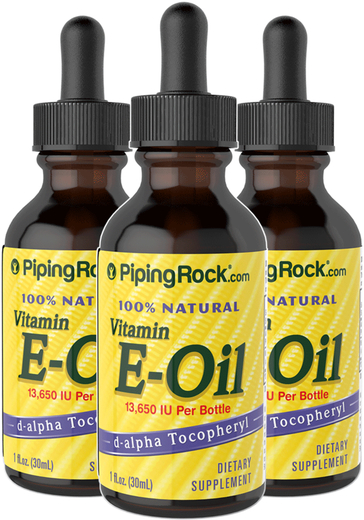 100% Natural Vitamin E-Oil 13,650 IU 3 Dropper Bottles x 1 fl oz