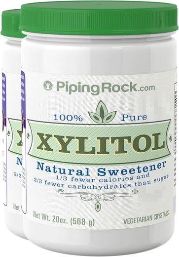 Adoçante xilitol 100% puro, 20 oz (567 g) Frascos, 2  Frascos