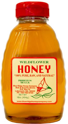 Honey 100% Wildflower Raw 1 lb Bottle