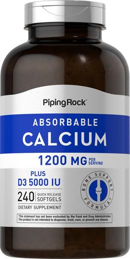 Absorbable Calcium 1200 mg Plus D3 5000 IU, 240 Softgels