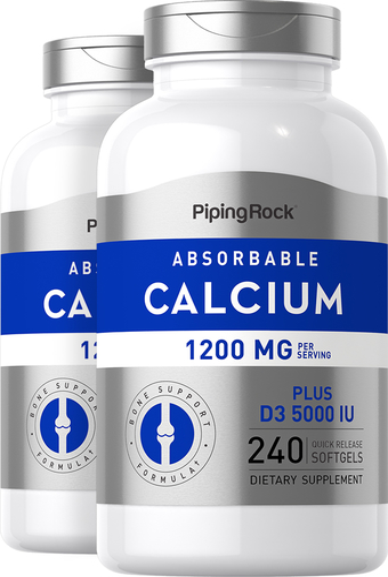 Absorbable Calcium 1200 mg Plus D 5,000 IU, 240 Softgels x 2 Bottles