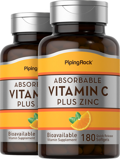 Absorbable Vitamin C Plus Zinc, 180 Quick Release Softgels