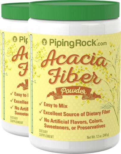 Pó de fibra de acácia, 12 oz (340 g) Frascos, 2  Frascos