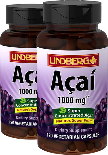 Acai 1000 mg, 120 Caps x 2 bottles