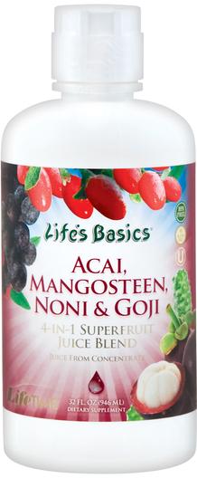 Mieszanka soków z acai, mangostanu, morwy indyjskiej i goji 32 fl oz (946 mL) Butelka