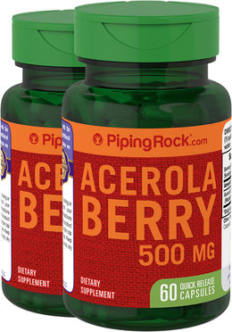 Acerola Berry 500 mg 2 Bottles x 60 Capsules