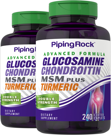 Zaawansowana glukozamina, chondroityna i MSM Plus o podwójnej sile działania Kurkuma 240 Powlekane kapsułki