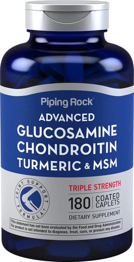 Zaawansowana glukozamina, chondroityna i MSM Plus o potrójnej sile działania Kurkuma 180 Powlekane kapsułki