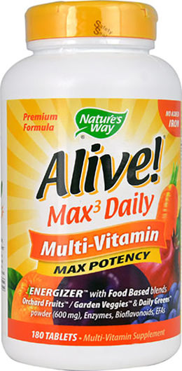Alive! Max3 Daily Multi (sans fer) 180 Comprimés