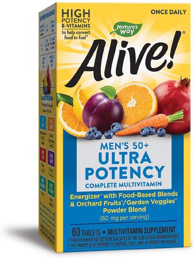 Alive! Multiwitamina dla mężczyzn po 50 roku życia na potencję, do przyjmowania raz dziennie 60 Tabletki