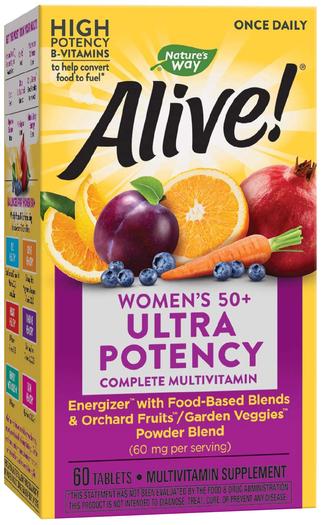 Alive! Zestaw witamin dla kobiet po 50 roku życia do przyjmowania raz dziennie 60 Tabletki