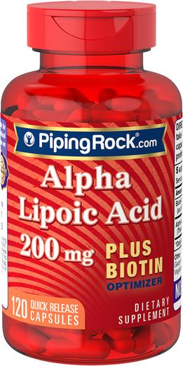 Alpha Lipoic Acid 200mg plus Biotin 120 Capsules