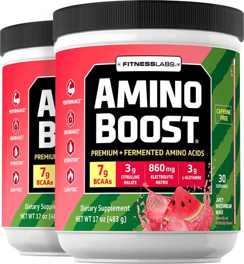 Amino Boost BCAA Powder (Juicy Watermelon Wave), 17 oz (483 g) Bottles