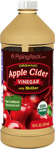 """Ocet jabłkowy o mocnym działaniu z """"matką"""" (Organiczna) 16 fl oz (473 mL) Butelka"""