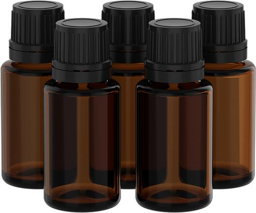 Frascos de vidro de aromaterapia 15 mL com conta-gotas, 5 Frascos