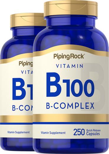 B-100 Vitamin B Complex 2 Bottles x 250 Capsules