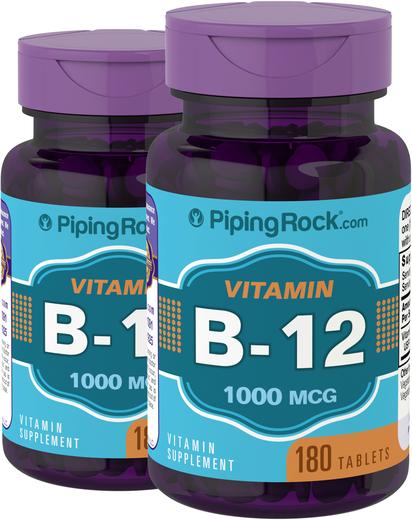 B12 , 1000 mcg, 180 Comprimidos, 2  Frascos