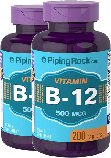 B12 , 500 mcg, 200 Comprimidos, 2  Frascos