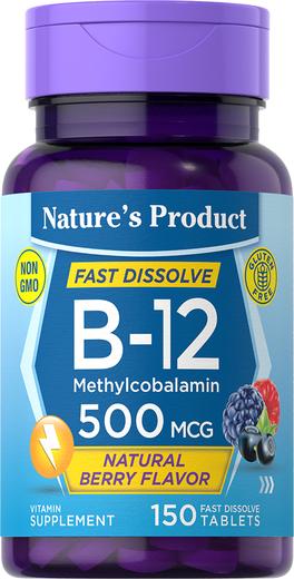 B-12 Methylcobalamin Fast Dissolve (Natural Berry), 500 mcg, 150 Fast Dissolve Tablets