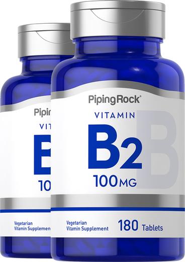 B2 (riboflavina), 100 mg, 180 Comprimidos, 2  Frascos