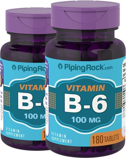 B6 (piridoxina), 100 mg, 180 Comprimidos, 2  Frascos