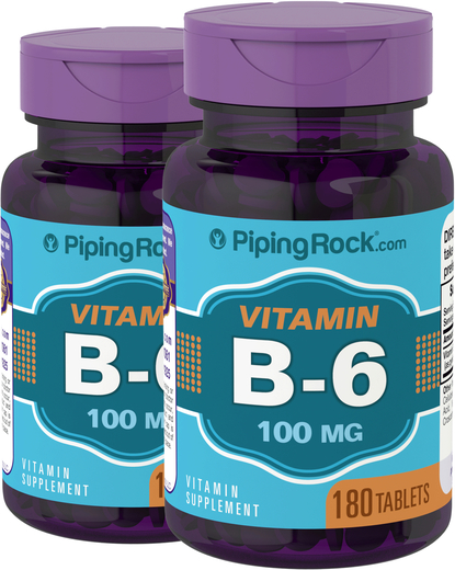 B-6 100mg (Pyridoxine)  2 Bottles x 180 Tablets