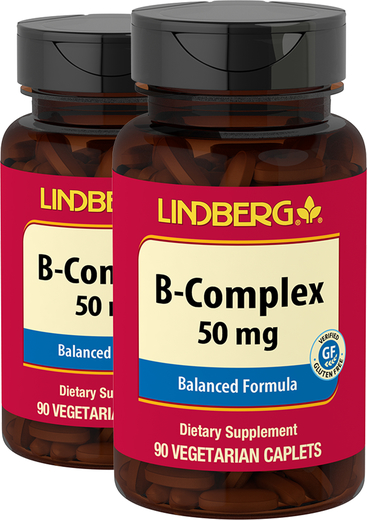 B-Complex 50 mg, 90 Caplets x 2 Bottles