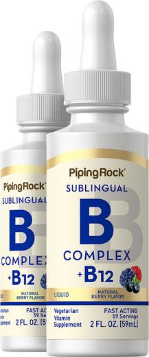 B-12 Cair dengan B Kompleks 2 fl oz (59 mL) Botol Penetes