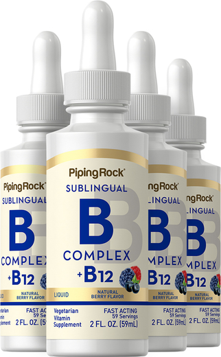 Witamina B-12 w płynie B-Complex Plus (pod język) 2 fl oz (59 mL) Butelka z zakraplaczem