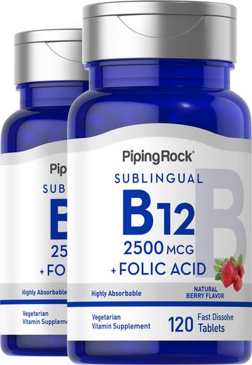 B12 2500 mcg w pastylkach + kwas foliowy 400 mcg 120 Tabletki szybko rozpuszczające się