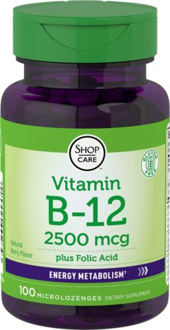 Pastilles de vitamine B12 2500mcg + acide folique 400mcg 100 Pastille