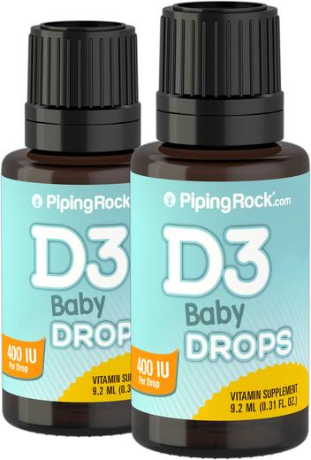 Baby D3 Drops Liquid Vitamin D 400 IU 365 servings, 9.2 mL (0.31 fl oz) x 2 Bottles