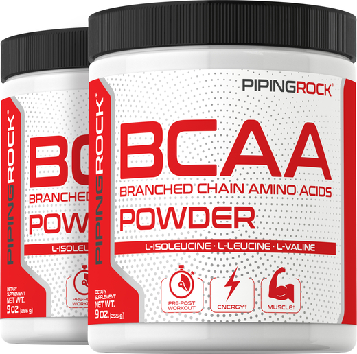 BCAA Powder (Branched Chain Amino Acids), 5000 mg (per serving), 9 oz x 2 Bottles