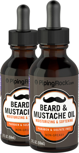 Beard & Mustache Oil Unscented with Dropper 2 Dropper Bottles x 2 fl oz (59 mL)