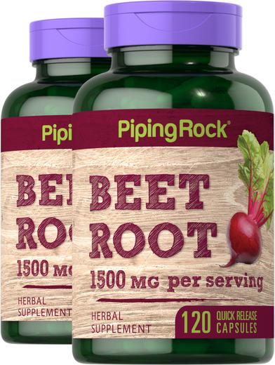 Beet Root 1,500 mg (per serving), 120 Capsules x 2 Bottles