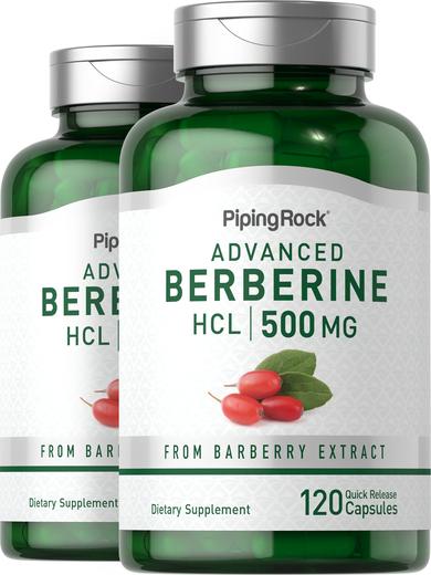 Berberine HCL 500mg 2 Bottles x 120 Capsules