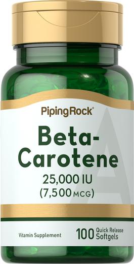 Beta Carotene Vitamin A 25,000 IU, 100 Softgels