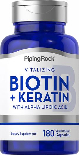 Biotin 5000 mcg (5mg) Plus Keratin, 180 Quick Release Capsules