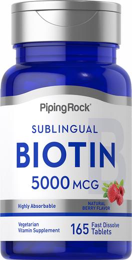 Biotin 5000 mcg  (5 mg) Fast Dissolve Tablets, 5000 mcg, 165 Fast Dissolve Tablets