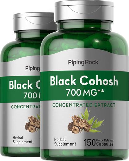 Black Cohosh 700 mg, 150 Capsules x 2 Bottles