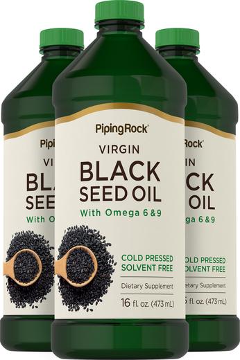 Olej z czarnego kminu – tłoczony na zimno 16 fl oz (473 mL) Butelki