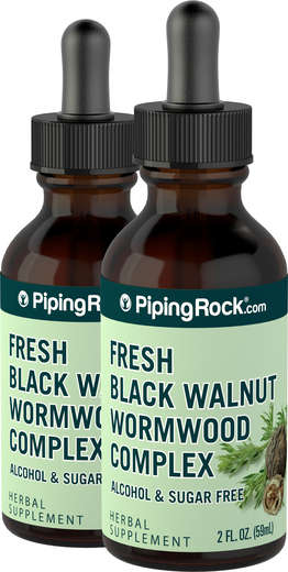 Black Walnut  Wormwood Complex Liquid Extract 2 Dropper Bottles x 2 fl oz (59 mL)