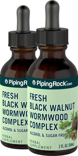 Zestaw czarnego orzecha i bylicy, płynny ekstrakt 2 fl oz (59 mL) Butelka z zakraplaczem