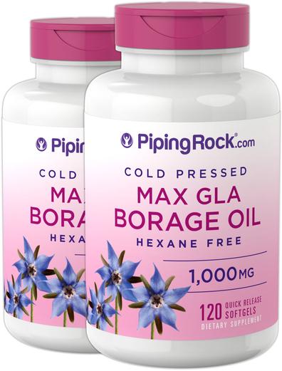 Borage Oil (GLA) 1,000 mg, 120 Softgels x 2 Bottles