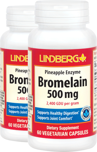 Bromelain Pineapple Enzyme (2400 GDU/g), 60 Caps x 2 bottles