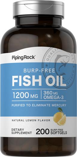 Rapefri overtrukne Omega-3 fiskeoljetabletter  200 Burp-Free Softgels