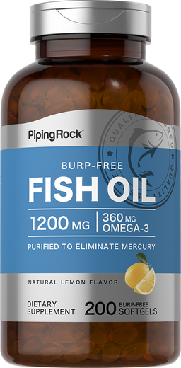 Omega-3 Fish Oil 1200 mg 200 Burp-Free Softgels