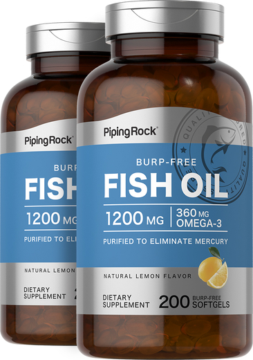 Omega-3 Fish Oil 1200 mg 2 x 200 Burp-Free Softgels
