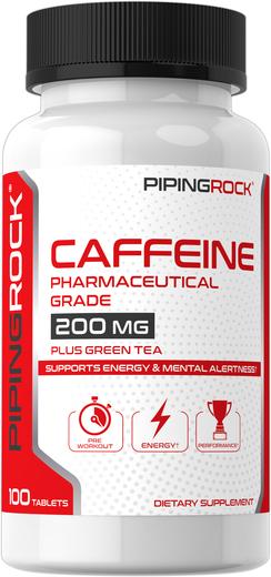Caffeine Plus Green Tea 200 mg, 100 Tablets